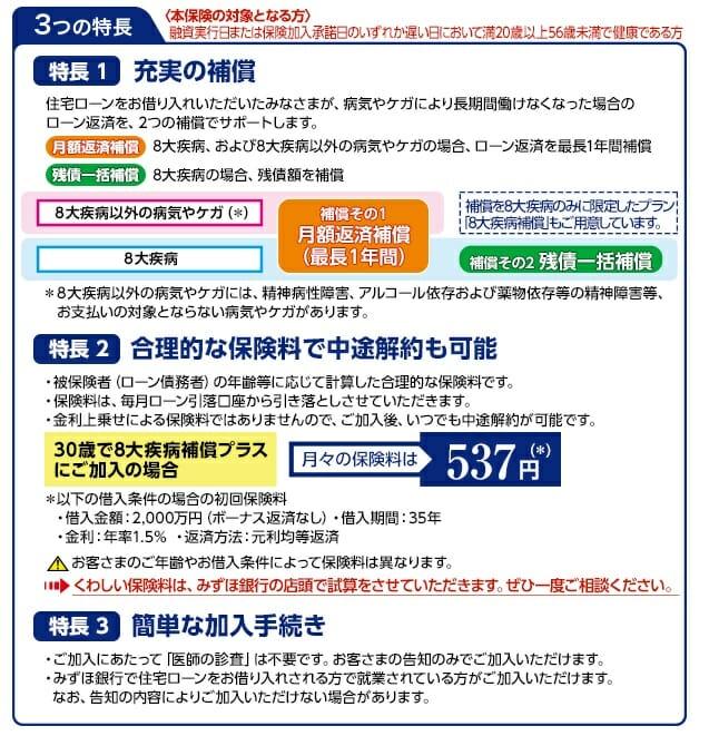 みずほ銀行の住宅ローンの8疾病保障