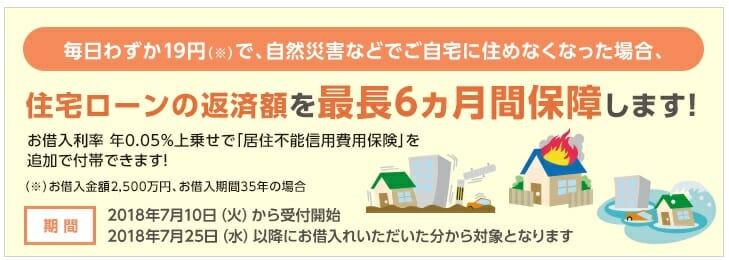 イオン銀行の住宅ローンの天災保障