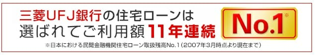 三菱UFJ銀行の住宅ローンシェア
