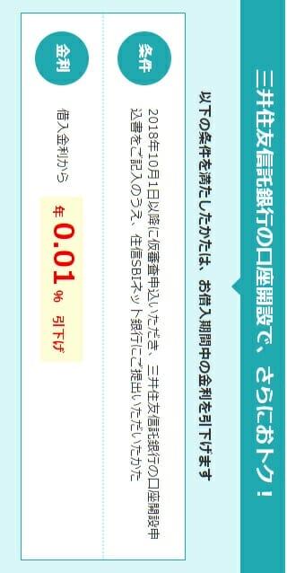 住信SBIネット銀行の住宅ローンの三井住友信託銀行の口座開設で割引