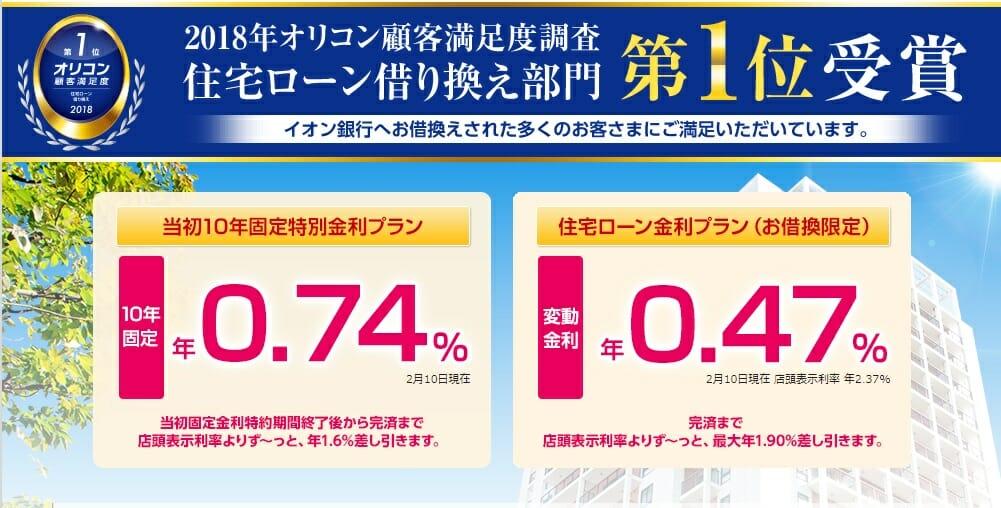 イオン銀行の2019年2月の住宅ローン金利(借り換え)