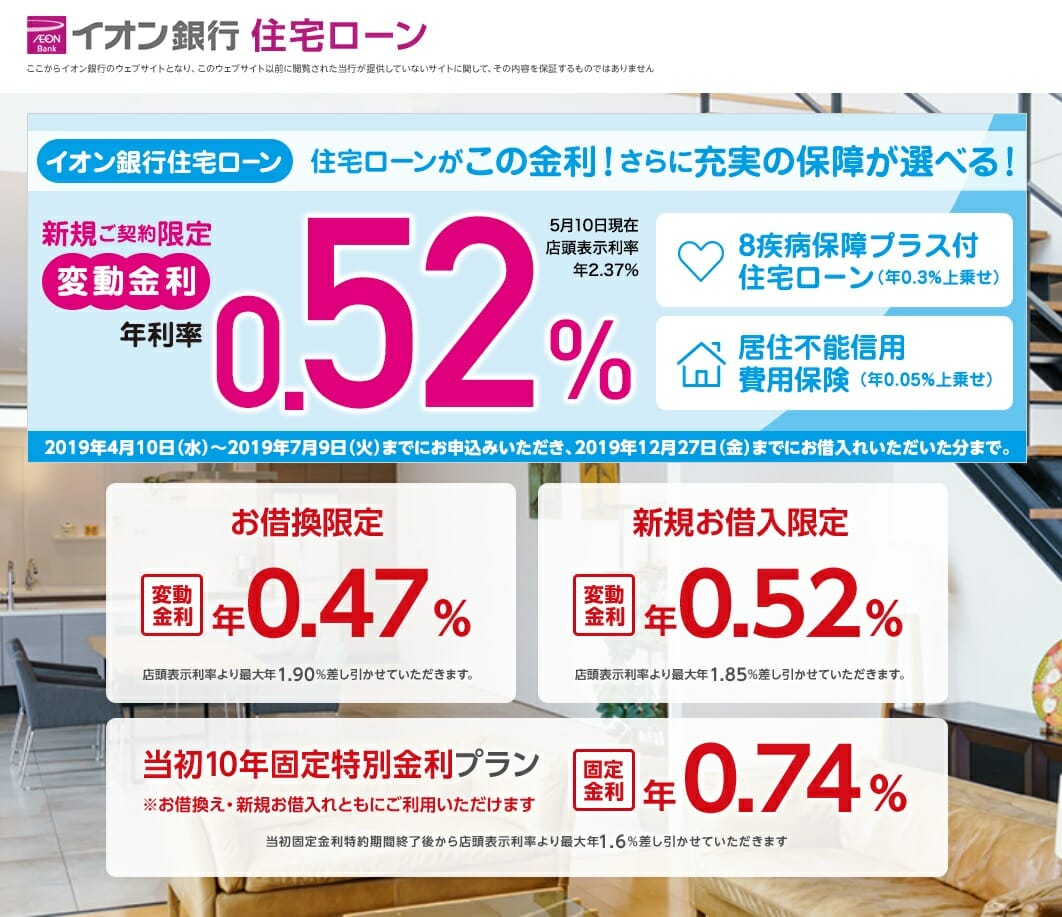 イオン銀行の住宅ローン金利