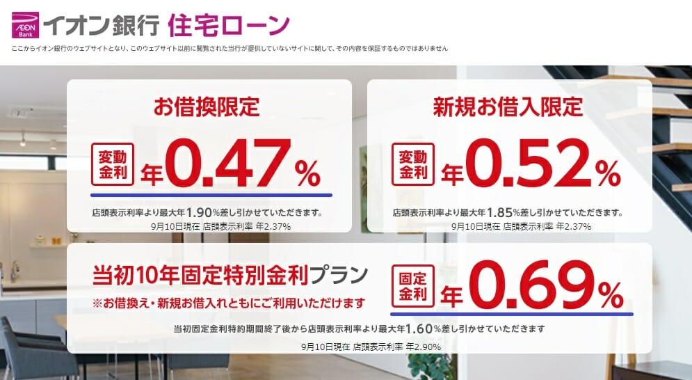 イオン銀行の住宅ローン金利(2019年9月)