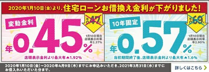 イオン銀行の2020年1月の住宅ローン金利(借り換え用)