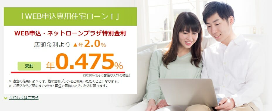 三井住友銀行の2020年1月のWEB申込専用住宅ローンⅠの金利