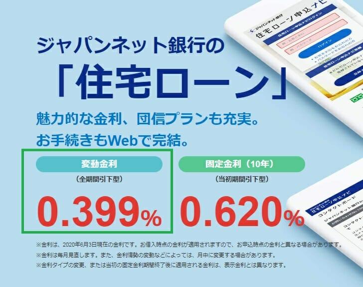 ジャパンネット銀行の2020年6月の住宅ローン金利