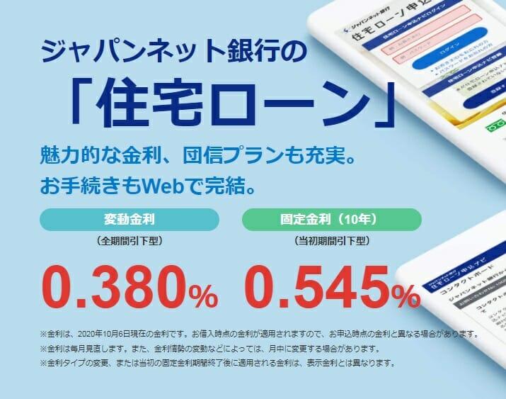 ジャパンネット銀行の銀行の2020年の住宅ローン金利