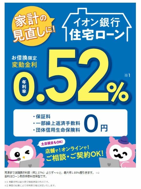イオン銀行の2021年1月の住宅ローン金利